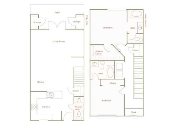 Hills of Valencia Apartments - B3 Townhouse - 2 bedrooms and 2 bath - 2D