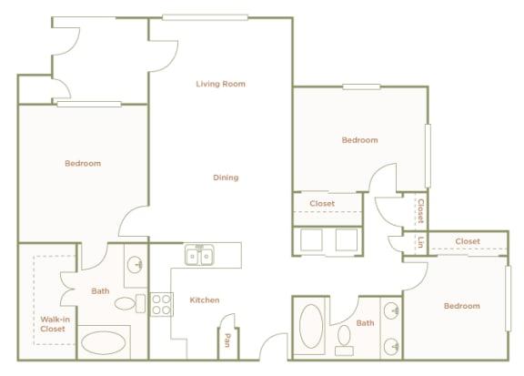 Hills of Valencia Apartments - C1 - 3 bedrooms and 2 bath - 2D