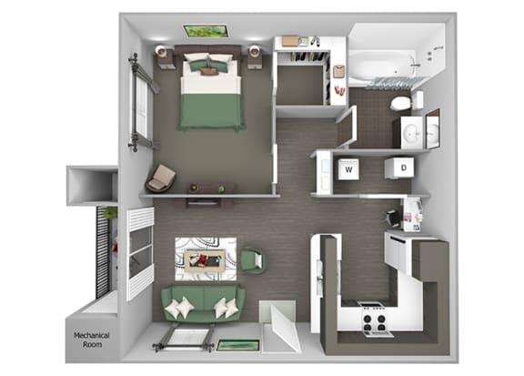 Hills of Valencia Apartments - A1L - 1 bedroom and 1 bath - 3D