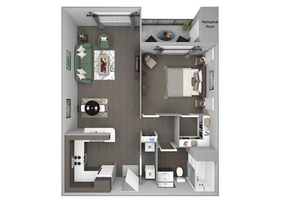 Hills of Valencia Apartments - A2 - 1 bedroom and 1 bath - 3D