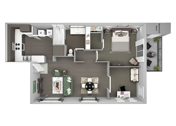 Hills of Valencia Apartments - A5L (with den) - 1 bedroom and 1 bath - 3D