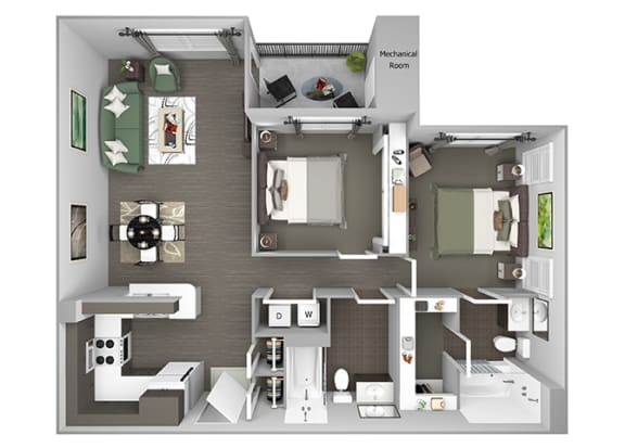 Hills of Valencia Apartments - B1 - 2 bedrooms and 2 bath - 3D