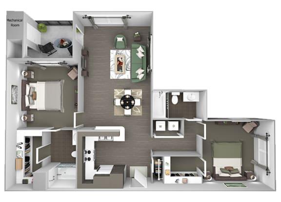 Hills of Valencia Apartments - B2 - 2 bedrooms and 2 bath - 3D