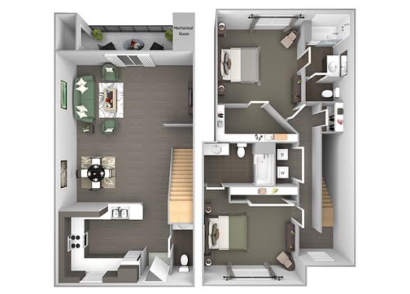 Hills of Valencia Apartments - B4 Townhouse - 2 bedrooms and 2 bath - 3D