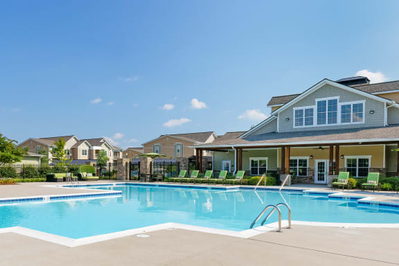 Glenbrook Apartments resort-style pool with expansive lounge deck