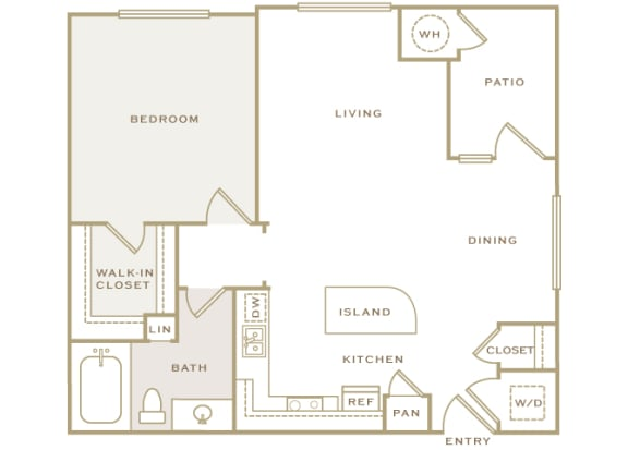 A1 3D floor plan 1-bedroom First and Main Apartments - 2D Floor Plans