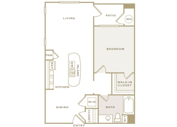 A2 3D floor plan 1-bedroom First and Main Apartments - 2D Floor Plans
