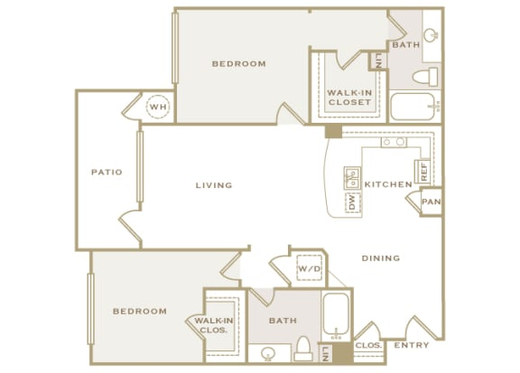 First and Main - B2 (Impulse) - 2-bed and 2-bath - 2D Floor Plan