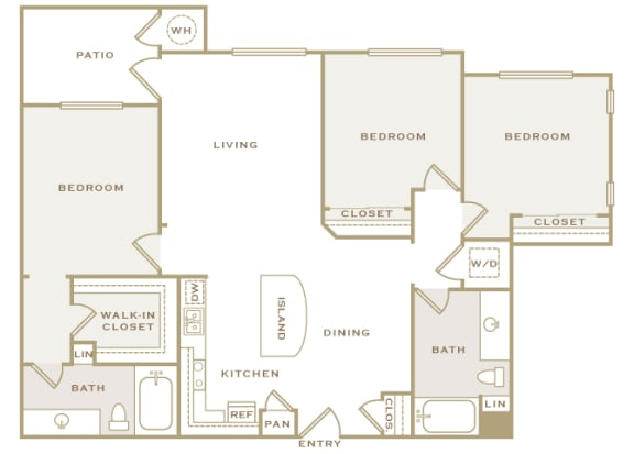 First and Main - C1 (Contemporary) - 3-bedroom and 2 bath - 2D floor plan