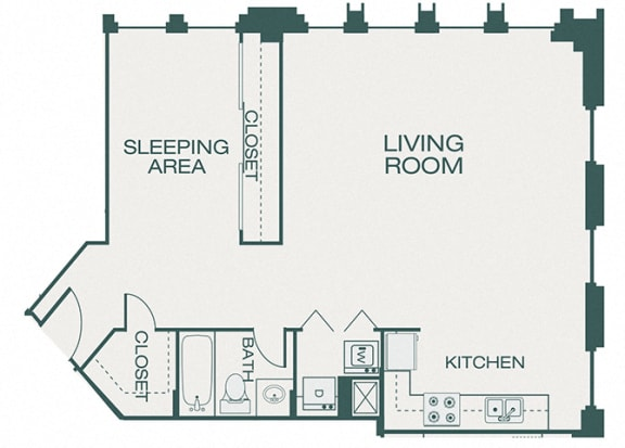 The Kirby - A13 - The Pearl - 1 bedroom - 1 bath