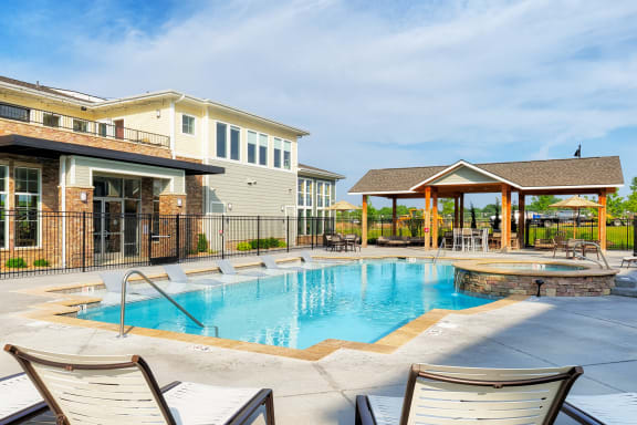 The Haven at Shoal Creek heated saltwater pool with tanning deck and spa