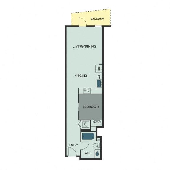 A01 – 1 Bedroom 1 Bath Floor Plan Layout – 550 Square Feet