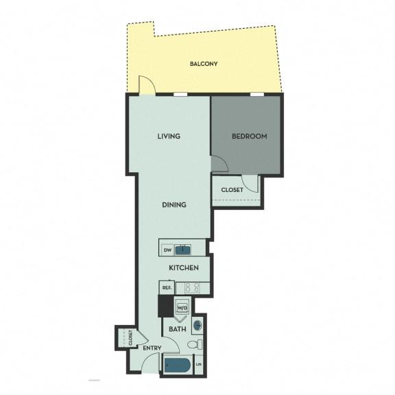 B02 B – 1 Bedroom 1 Bath Floor Plan Layout – 872 Square Feet