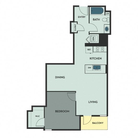 B11 – 1 Bedroom 1 Bath Floor Plan Layout – 773 Square Feet
