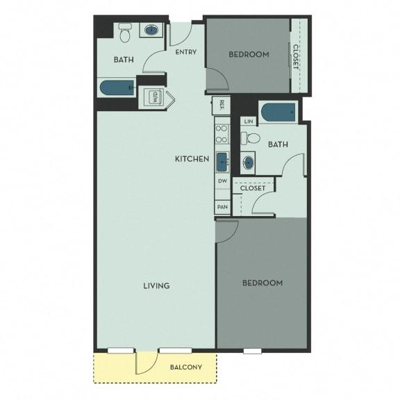 D02C – 2 Bedroom 2 Bath Floor Plan Layout – 1108 Square Feet