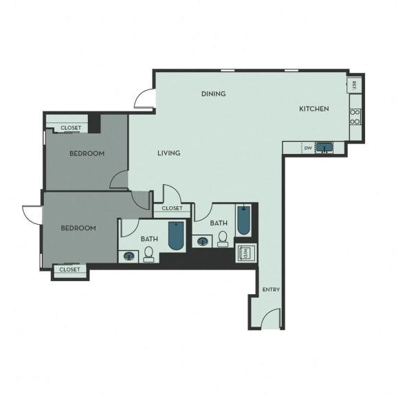 D09A – 2 Bedroom 2 Bath Floor Plan Layout – 1224 Square Feet