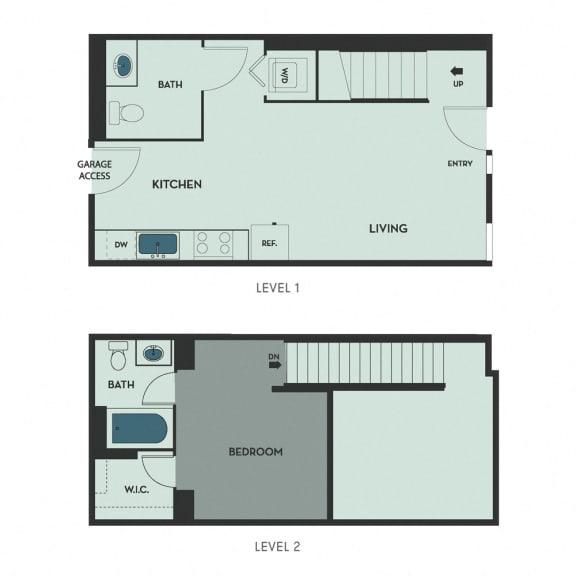 F05 – 1 Bedroom 1.5 Bath Floor Plan Layout – 720 Square Feet
