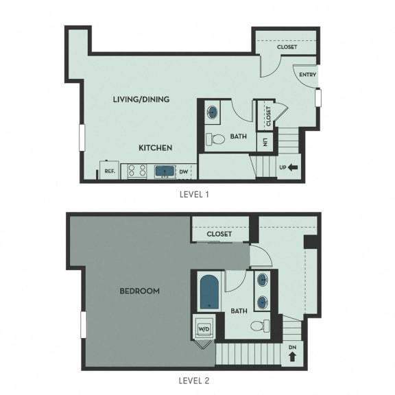 G01 – 2 Bedroom 1.5 Bath Floor Plan Layout – 1081 Square Feet