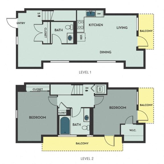 H02 – 2 Bedroom 1.5 Bath Floor Plan Layout – 1091 Square Feet