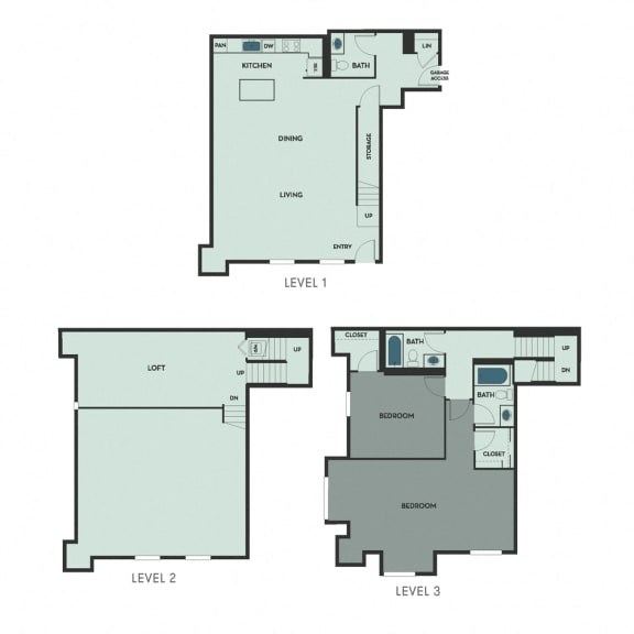 T-1 – 1 Bedroom 2.5 Bath Floor Plan Layout – Unknown Square Footage