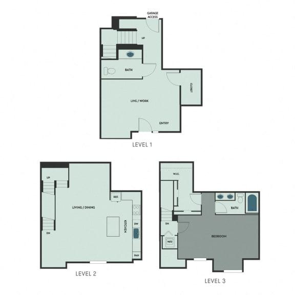 T-2 – 1 Bedroom 1.5 Bath Floor Plan Layout – 1552 Square Feet