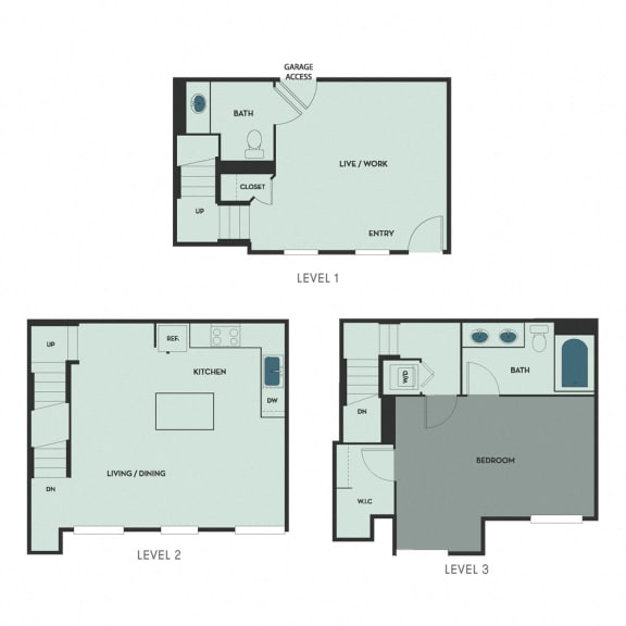 T-3 – 1 Bedroom 1.5 Bath Floor Plan Layout – 1102 Square Feet