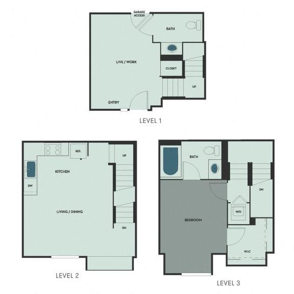 T-4A – 1 Bedroom 1.5 Bath Floor Plan Layout – 837 Square Feet