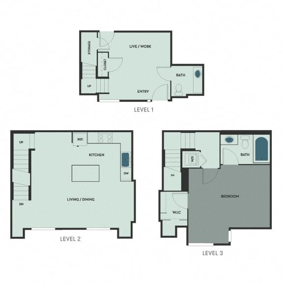 T-5 – 1 Bedroom 1.5 Bath Floor Plan Layout – 1085 Square Feet
