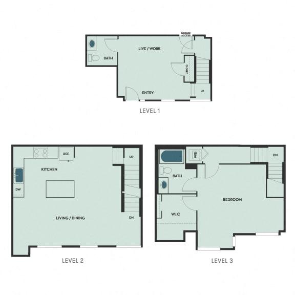 T-6 – 1 Bedroom 1.5 Bath Floor Plan Layout – 1180 Square Feet