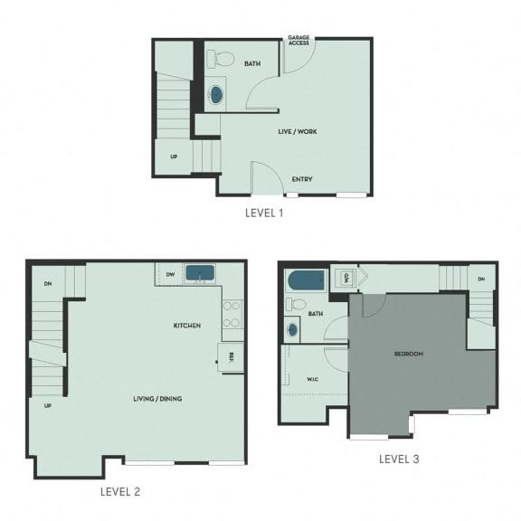 T-7 – 1 Bedroom 1.5 Bath Floor Plan Layout – 906 Square Feet