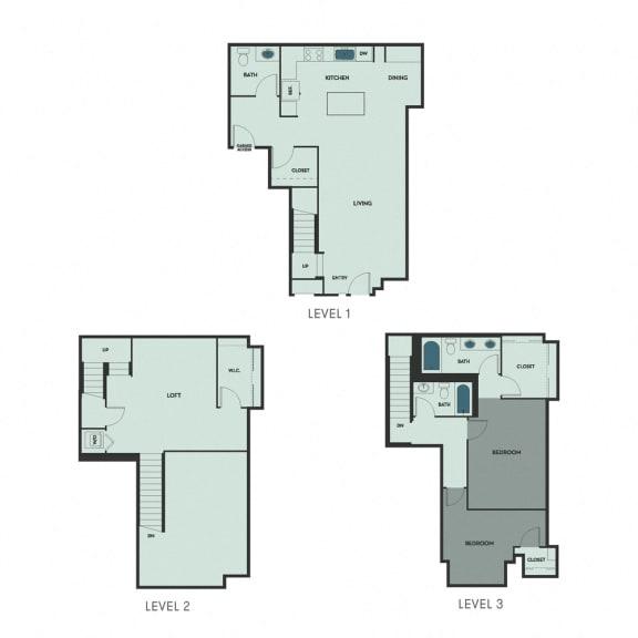 T-8 – 1 Bedroom 1.5 Bath Floor Plan Layout – 1735 Square Feet