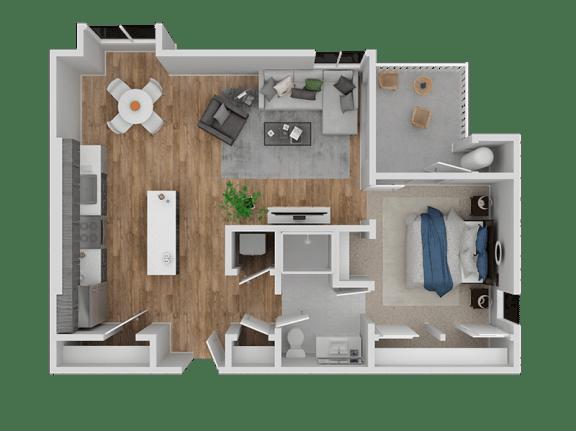 Floor Plan  Hub Apartments | Folsom CA |Floorplan |746 A11