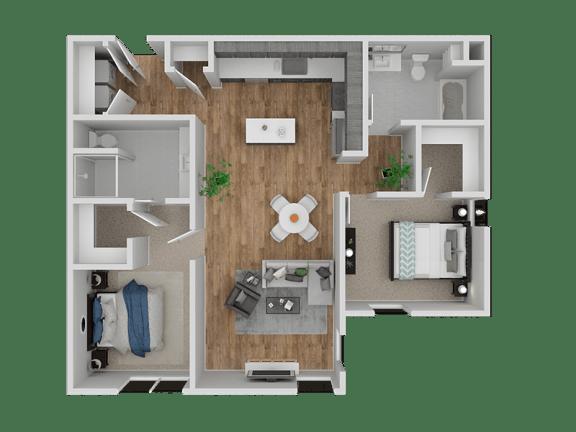 Floor Plan  Hub Apartments | Folsom CA |Floorplan | 1056 B11