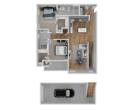 Floor Plan  Hub Apartments | Folsom CA |Floorplan | 1073 B2