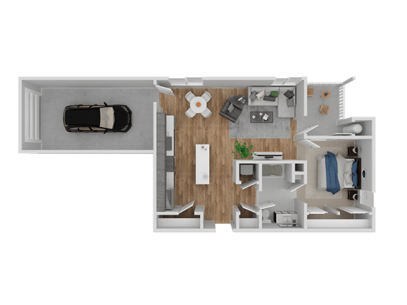 Floor Plan  Hub Apartments | Folsom CA |Floorplan | 734 A1