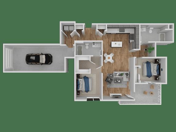 Floor Plan  Hub Apartments | Folsom CA |Floorplan | 1103 B1