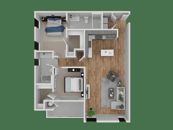 Floor Plan  Hub Apartments | Folsom CA |Floorplan | 1073 B21
