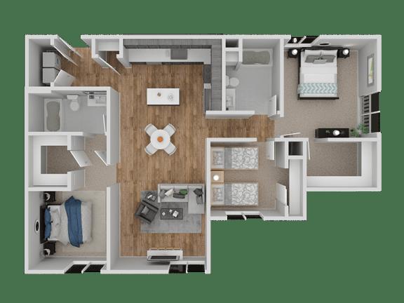 Floor Plan  Hub Apartments | Folsom CA |Floorplan | 1255 C11