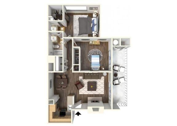 The Bradford 2x1 floor plan. for rent at Kirker Creek in Pittsburg Ca