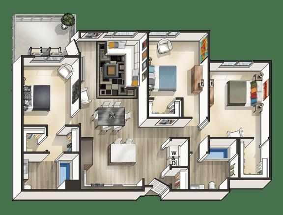 L - 3 Bedroom 2 Bath Floor Plan Layout - 1449 Square Feet