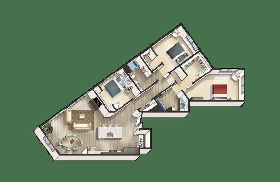 M - 3 Bedroom 2 Bath Floor Plan Layout - 1562 Square Feet