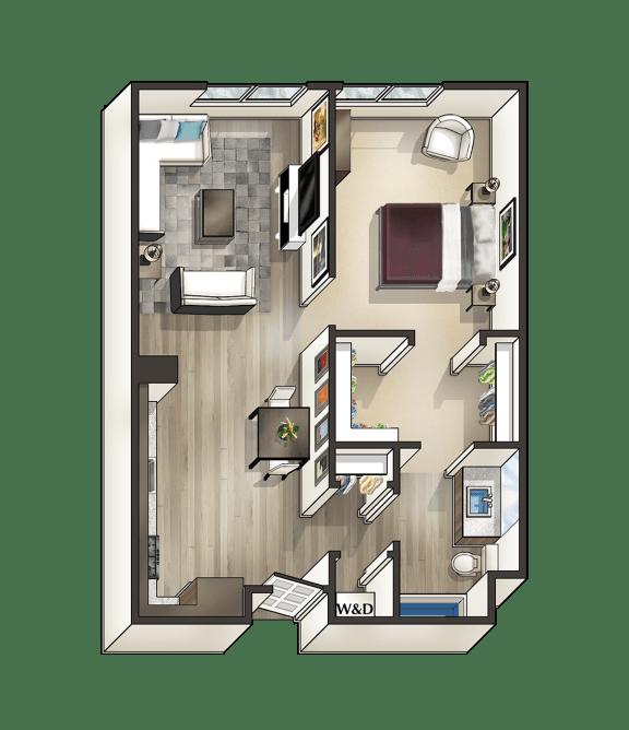 C - 1 Bedroom 1 Bath Floor Plan Layout - 747 Square Feet