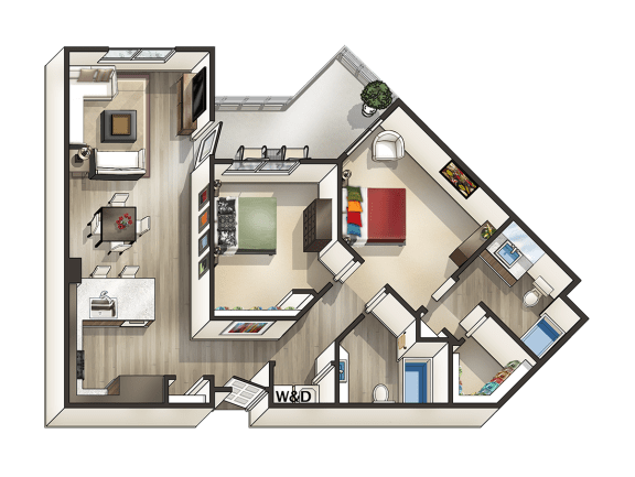 Floor Plan  J - 2 Bedroom 2 Bath Floor Plan Layout - 1080 Square Feet