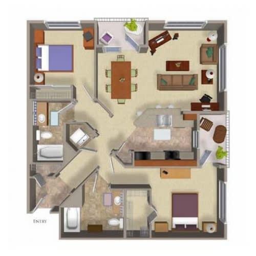 2 Bedroom 2 Bathroom Floor Plan Three, at Beaumont Apartments, Woodinville, WA, 98072