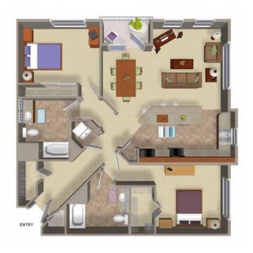 2 Bedroom 2 Bathroom Floor Plan Four, at Beaumont Apartments, Washington, 98072