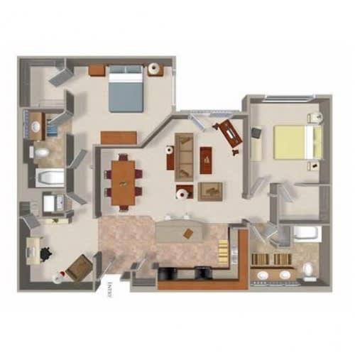 2 Bedroom 2 Bathroom Floor Plan Five, Washington, at Beaumont Apartments, 14001 NE 183rd Street