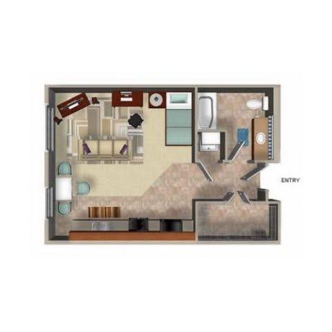 Studio Floor Plan, at Beaumont Apartments, Woodinville, Washington