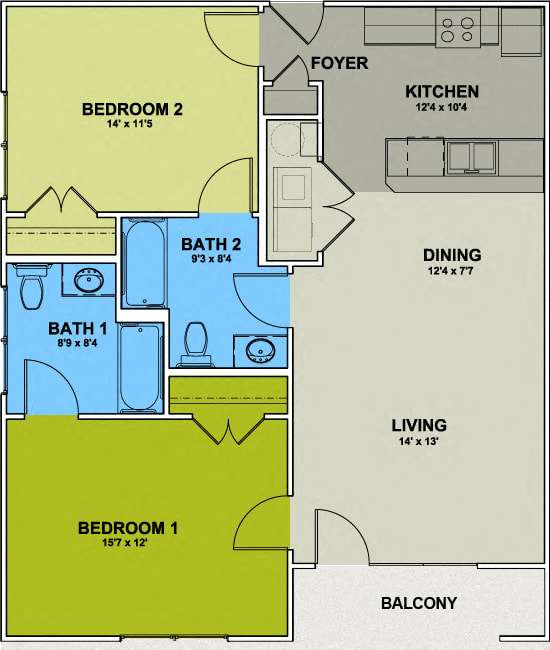 Image of a Irving Park Floor Plan - 2 Bed 2 Bath