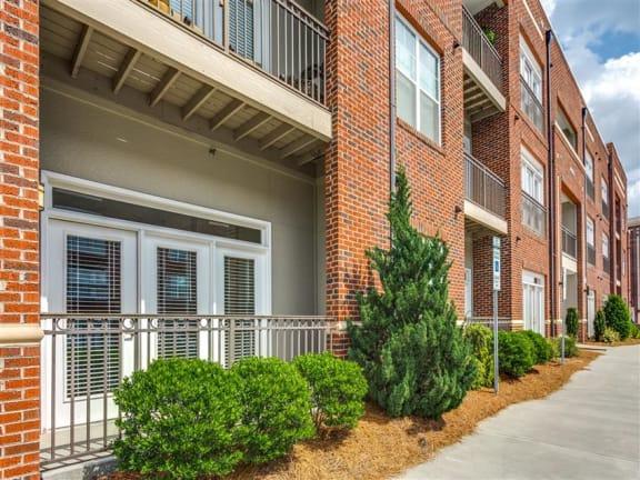 terrace and doors at Greenway at Fisher Park, Greensboro, NC, 27401