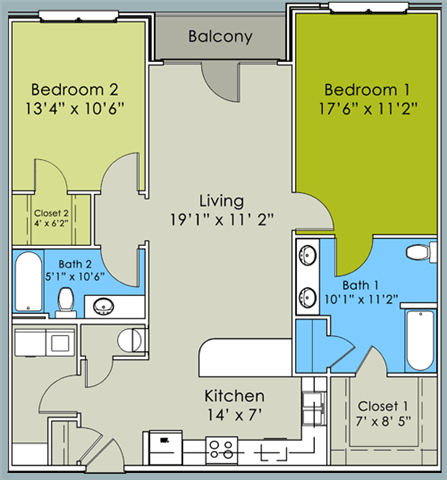 Two Bed Two Bath Floor Plan at Greenway at Stadium Park, Greensboro, North Carolina